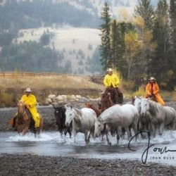 Crossing the River by Horses, Western,
